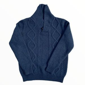 Cambridge Dry Goods Company Chunky Cable Knit Grandpa Sweater Lambs Wool Blue